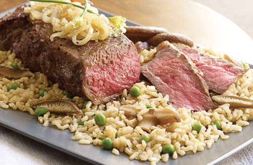 Brown Rice with Savory Shiitake Mushrooms and Sesame Grilled Strip Steaks Recipe | Yummly