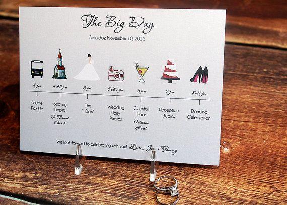 Wedding Timeline Card DEPOSIT von pixelstopaper auf Etsy