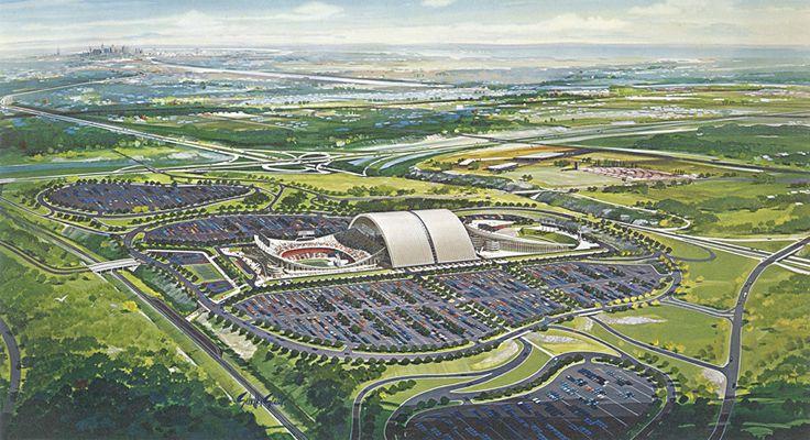 """Original """"rolling roof"""" concept, Truman Sports Complex"""