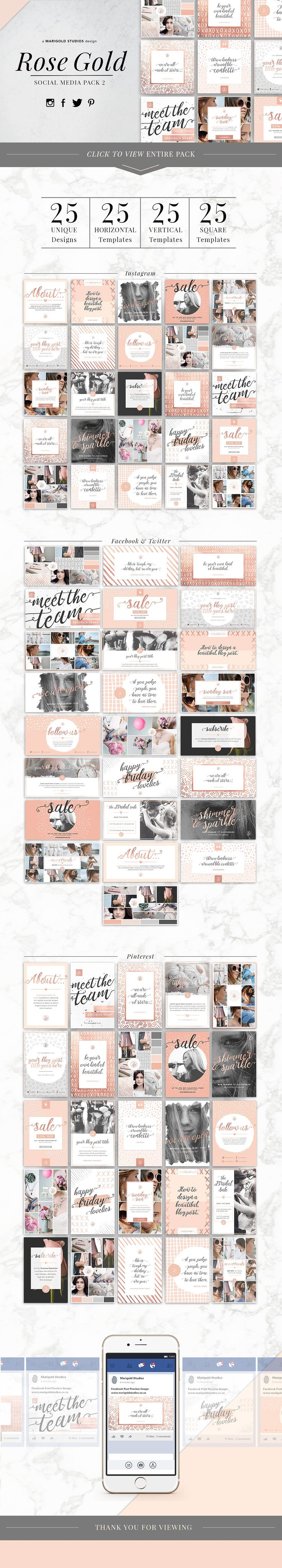 ROSE GOLD | Social Media Pack 2 by Marigold Studios on @creativemarket