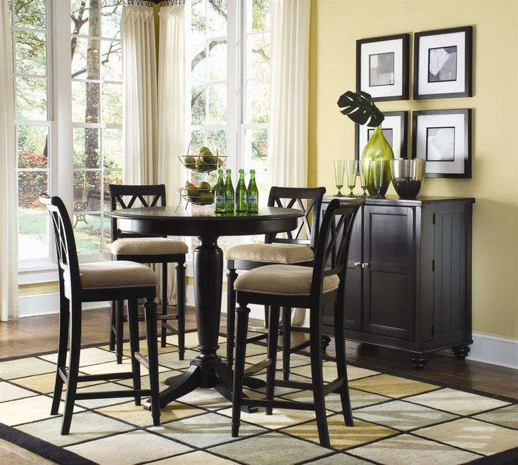 Dining Room Traditional Black Solid Wood Round Height