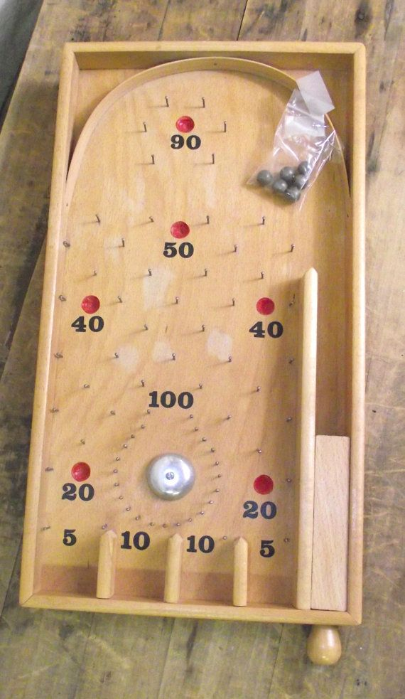 Reduced Old Wooden Pinball game with metal balls by RuffByMargo
