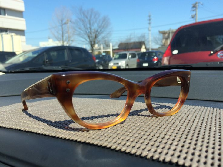 50s tortoise shell effect Oliver Goldsmith catseye glasses frames with star shaped temple studs, 7 barrel hinges and pointed paddle arms. Handmade in England.
