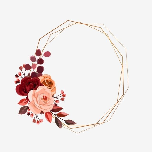 إطارات هندسية متعددة الأضلاع مع أزهار حفل زواج دعوة زفاف ذهب Png وملف Psd للتحميل مجانا Flower Frame Flower Background Design Floral Border Design