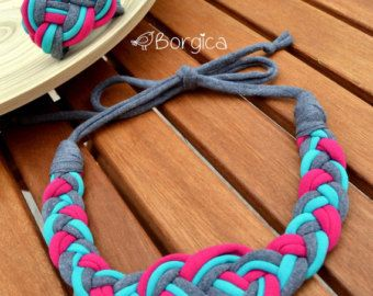 Pink Turquoise Nautical Knot Braided Tshirt Yarn Necklace and Bracelet - Fabric Jewelry Recycled Eco-Friendly Jewelry Upcycled Bracelet