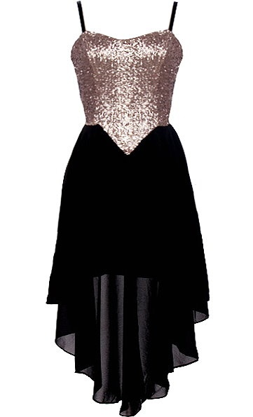 Tinsel Town Dress: Features fully adjustable spaghetti straps supporting a glittering gold sequin bodice, cleverly angled waist shape for an instant slimming effect, flowing black high-low chiffon skirt with inner lining for no show-through, and an edgy exposed rear zipper to finish.