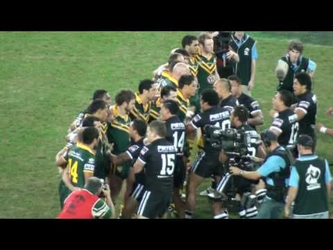 Haka showdown, 2008 Rugby League World Cup Final. Hoping to see NZ do this in Nov!