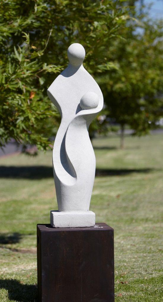 Mother & Child White Terrazzo Statue
