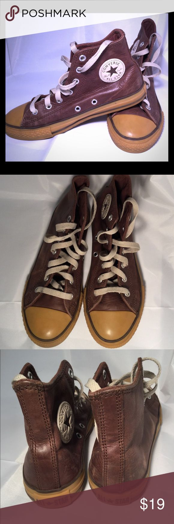Converse Chuck Taylor All Star Brown Leather Youth brown leather Converse Chuck Taylor All Star in excellent preowned condition! Converse Shoes Sneakers