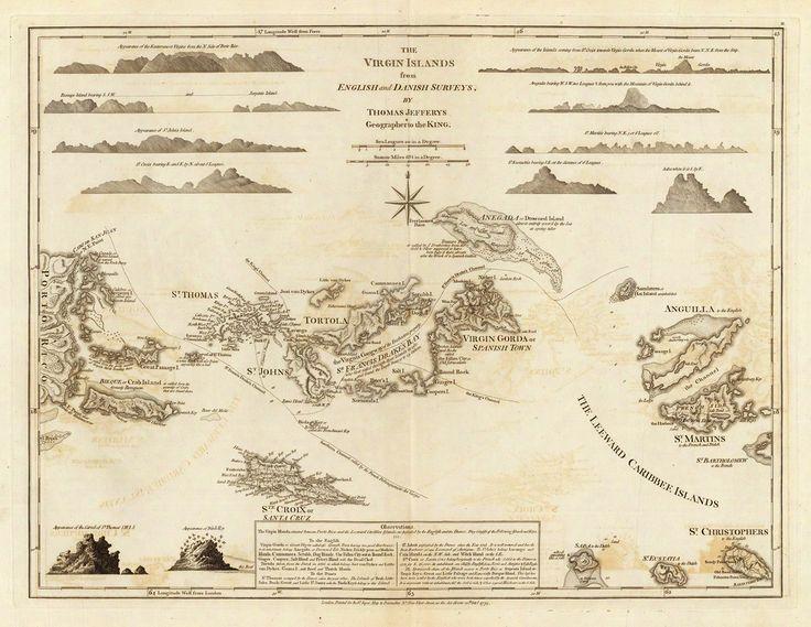 1775 map of the virgin islands bvi usvi jefferys