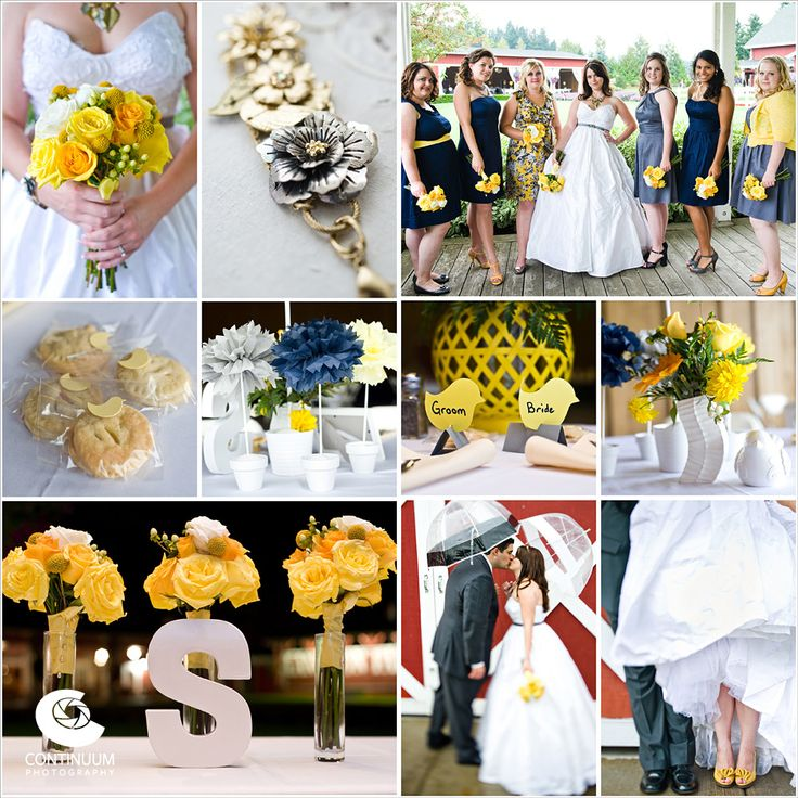Wedding Color Inspiration: Yellow, Blue, & Grey.  Real wedding photographed by Continuum Wedding Photography using Yellow, Blue, & Grey color palette.  See more wedding goodness at http://continuumweddings.com.-----------I am thinking of adding grey to the wedding pallet! :)