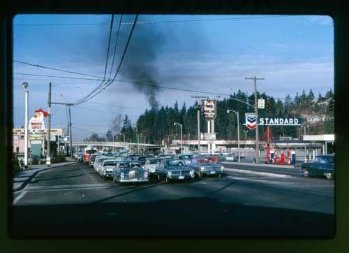 Park Royal West Vancouver Canada circa 1960s. White Spot signage!