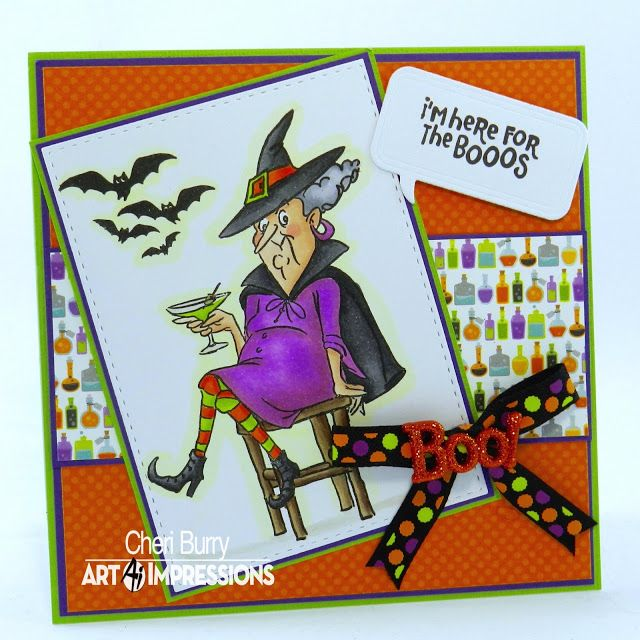 art impressions rubber stamps 4784 old bat set handmade halloween card - What To Say In A Halloween Card