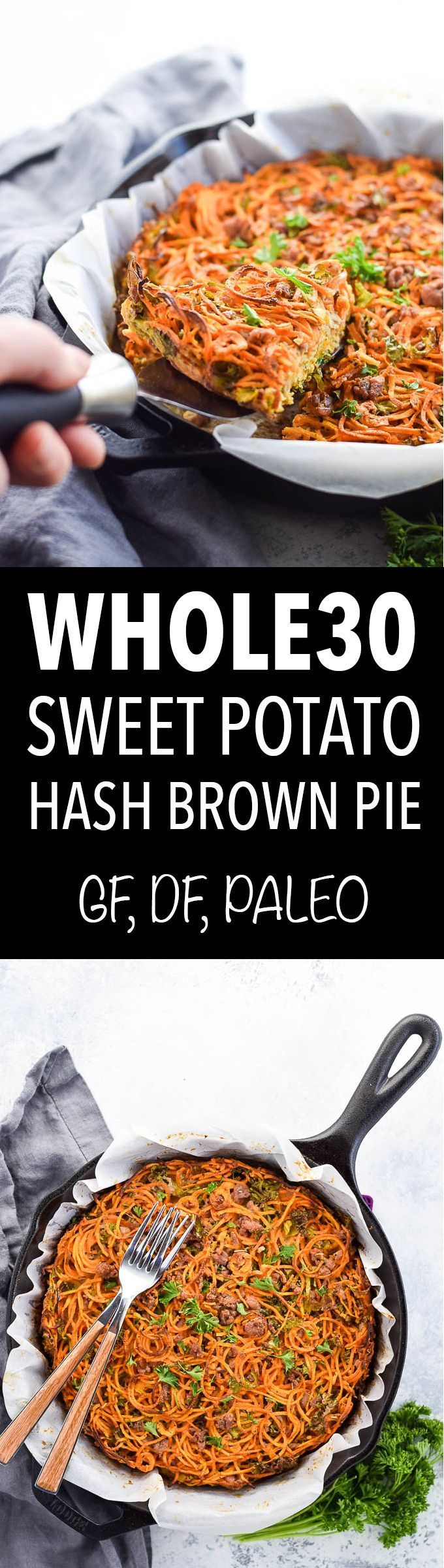 Sweet potato hash brown pie! This Whole30 breakfast is made with sweet potato noodles, eggs, kale and ground pork.