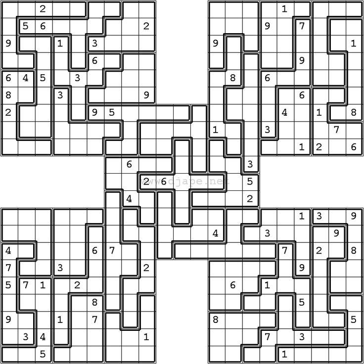 Jigsaw Samurai Sudoku Puzzles Pinterest