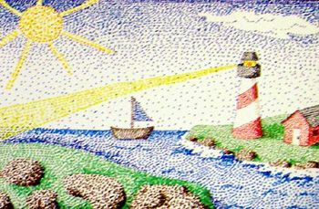 Great ideas on this site for fourth-grade level children; nice, simple pointillism picture is one idea