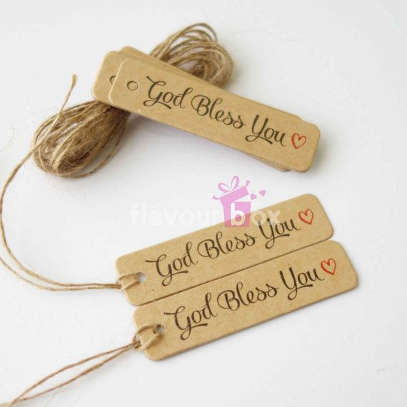 30x Kraft Paper Tags God Bless You  Gift Tag  by flavourbox