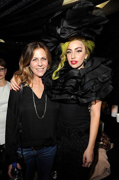 Rita Wilson and Lady Gaga backstage at Roseland Ballroom on April 7, 2014 in New York City.