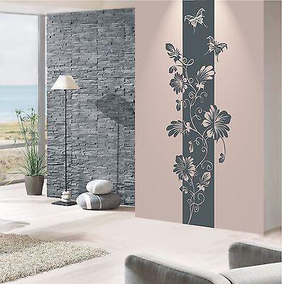 Trend Details zu WANDTATTOO Wandaufkleber Wandsticker Blumen Ranke Banner Wohnzimmer Flur WT