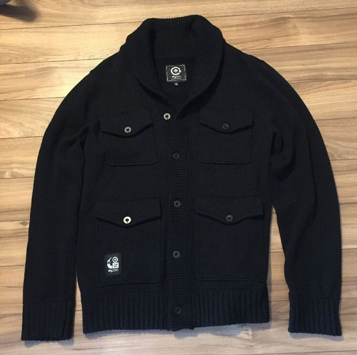 LRG Lifted Research Group Cardigan Sweater Black XL    eBay
