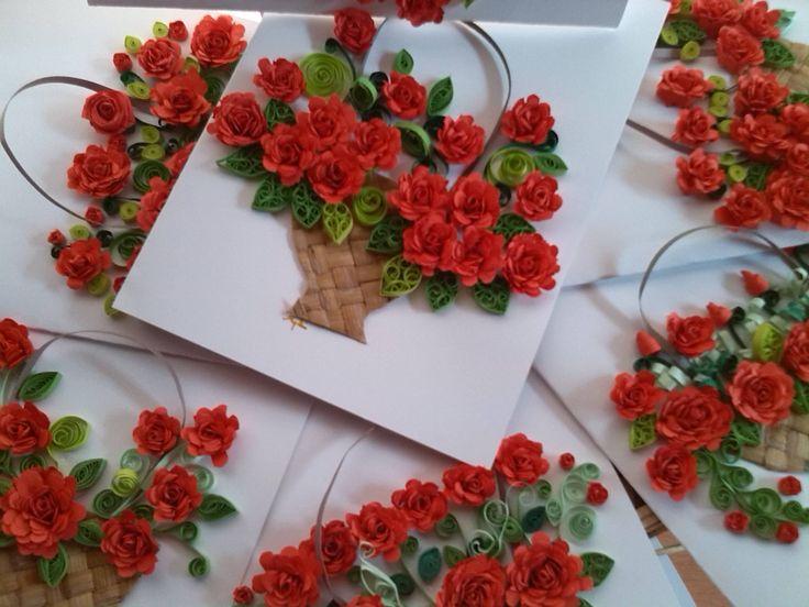 Paper Quilling Rose Flower Basket rose baskets paper crafts pinterest