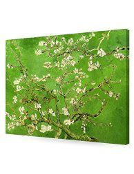 Green home wall art décor is enchanting, beautiful and  unique. It does not matter if you like  jade, emerald, lime, forest, hunter or pale green, green wall art is truly  captivating and stunningly beautiful.  Furthermore you will love the wide variety available from green canvas  art, green abstract art and green wall clocks.      DecorArts- Green Almond Blossom Tree, Vincent Van Gogh Art Reproduction, Giclee Print on 100% cotton Canvas for Home Decor and Wall Decor 24x30