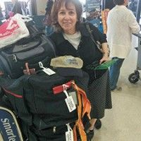 Marlene Yanofsky, of Staten Island, poses with her luggage before her NBN flight. Marlene is the mother of Teaneck resident and frequent JLNJ contributor Lisa Matkowsky. Photo by Aryeh Yanofsky.