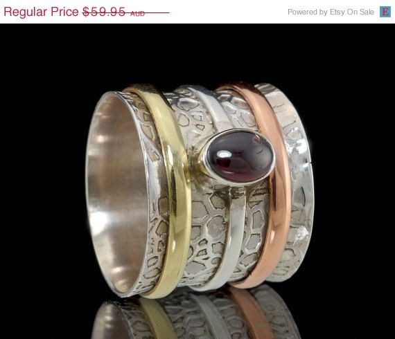 ON SALE Garnet Spinner Ring 925 Sterling Silver by fabriika, $47.96