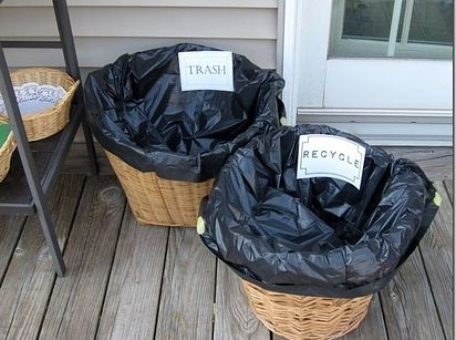Party Hack! Line popup laundry hampers or baskets with trash bags. Label them and put them everywhere.