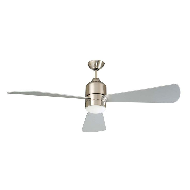 "Concord Fans 60"" Decca Large Stainless Steel Ceiling Fan with Light & Remote"