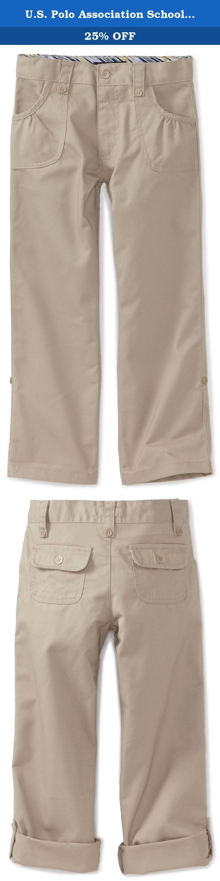 U.S. Polo Association School Uniform Big Girls' Twill Roll Up Pant, Khaki, 12. Gathered front pockets.