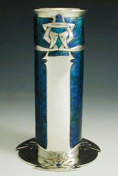 LIBERTY & Co. SILVER & ENAMEL VASE / Designer Archibald Knox / A fine silver & enamel Arts & Crafts vase / England, 1906