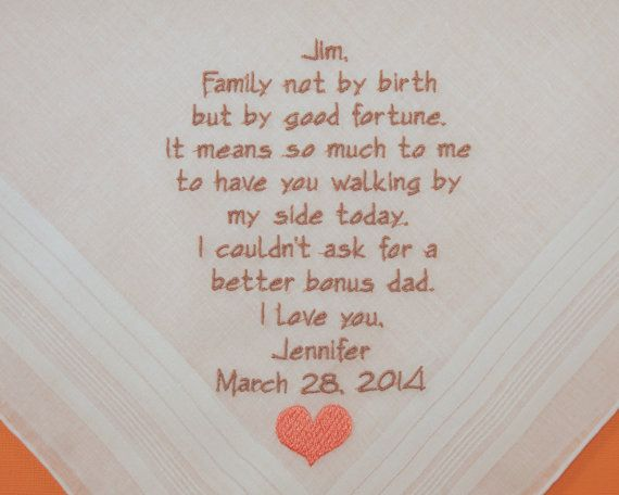 Wedding Gift For Future Step Daughter : Step Father of the Bride Saying Personalized Wedding Hankerchiefs ...