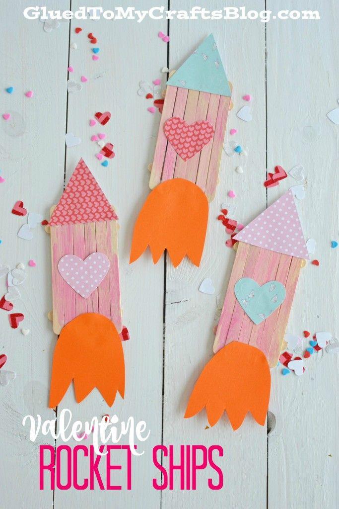 Popsicle Stick Valentine Rocket Ships - cute popsicle stick rocket to make with kids for Valentine's day!