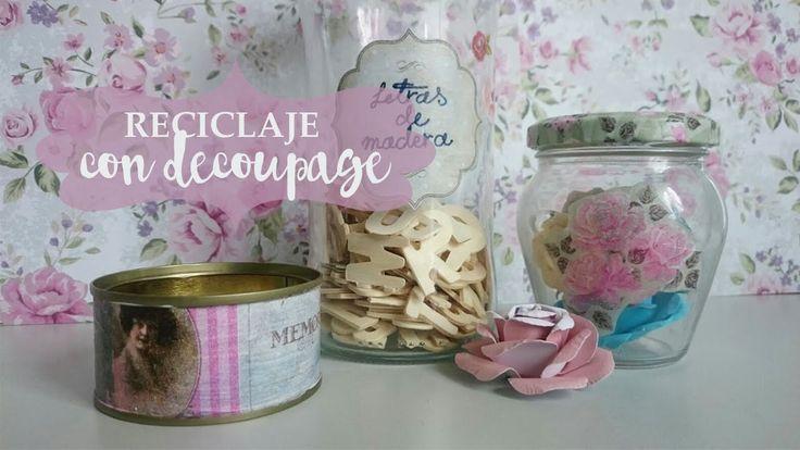 Aprende a reciclar latas y botes de cristal con papeles #decoupage para conseguir bonitas piezas para la decoración de tu hogar #diy #handmade #decoracion #manualidades #crafts #reciclaje