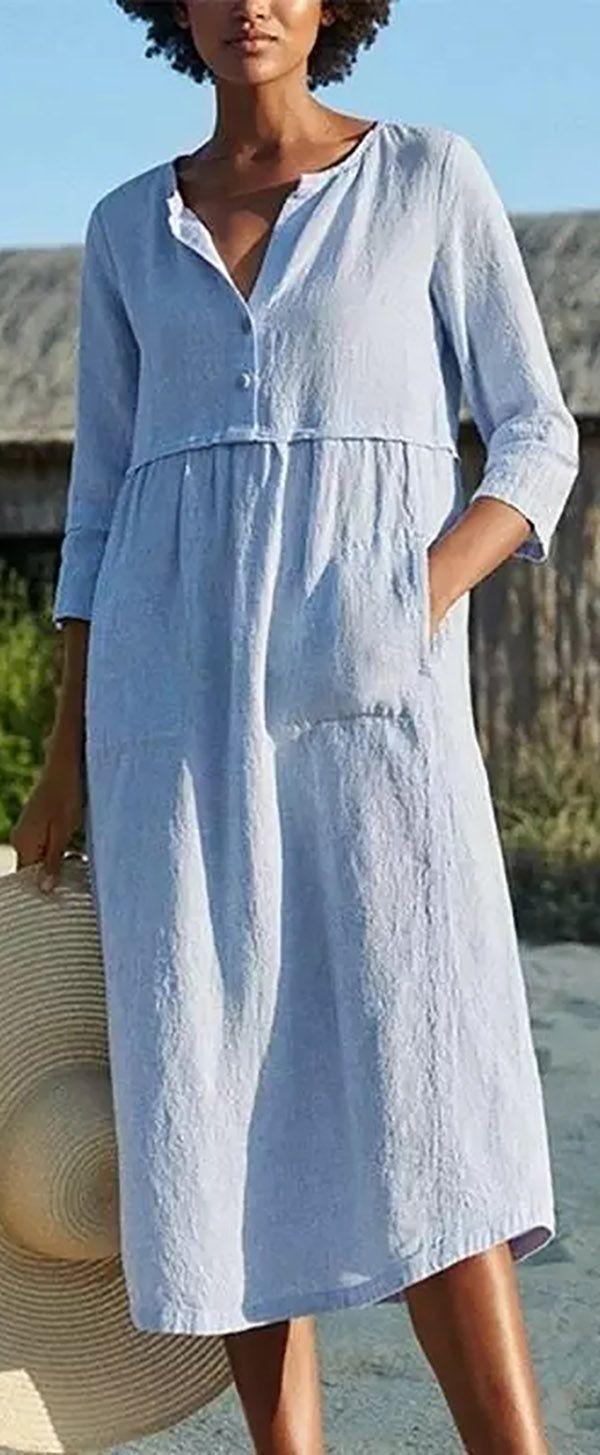 Hot Sale Cotton And Linen Pocket 3 4 Sleeve Dress Dresses Daily Dress Casual Summer Dresses [ 1455 x 600 Pixel ]