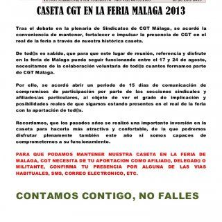 CONFEDERACIÓN GENERAL DEL TRABAJO FEDERACION PROVINCIAL DE SINDICATOS CGT MALAGA SECRETARÍA GENERAL C/ Madre de Dios, 23 (29012) Málaga TFNO. 952225592, FAX. http://slidehot.com/resources/caseta-cgt-en-la-feria-malaga-2013.10634/