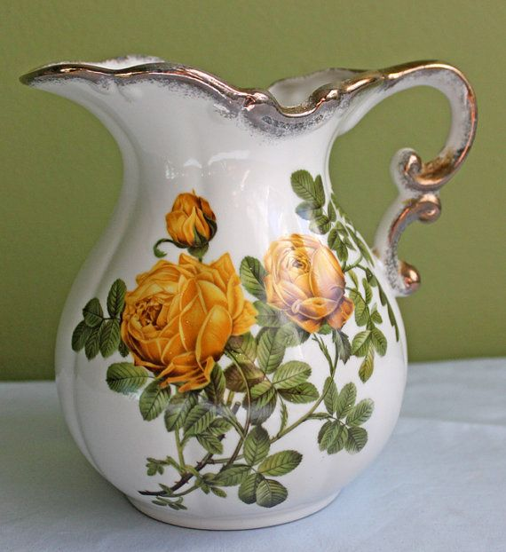 Porcelain Water Pitcher.  Water Pitcher with by AnythingDiscovered