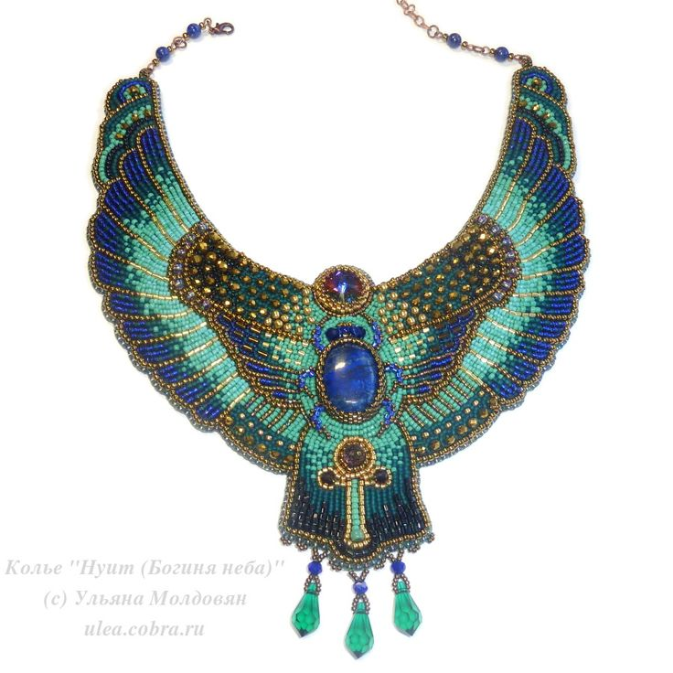 """Necklace """"Nuit - egypt goddiess"""". Egypt style necklace. Bead embroidery. Beaded necklace with stones and Swarovski crystals."""