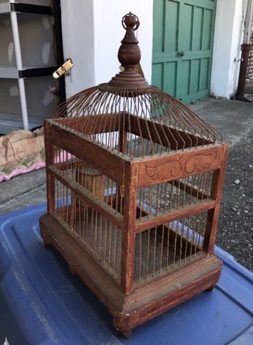 Vintage-Wood-Wire-Bird-Cage-Exclusive-For-The-Islands-Inc-19x13-034-Planter-Decor