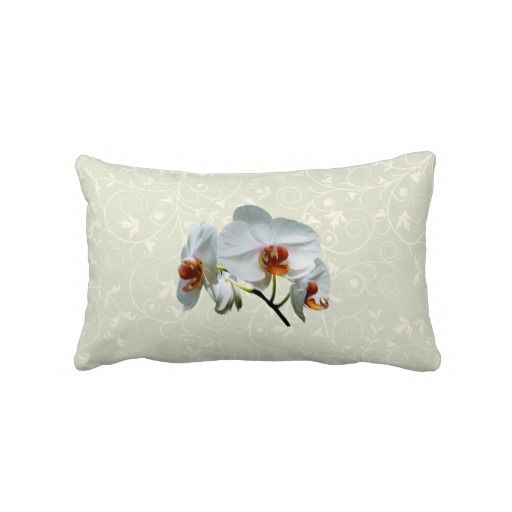 White Orchids With Orange Center Throw Pillow