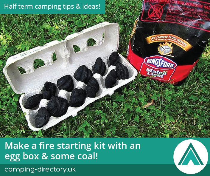 Make a fire starting kit with an egg box and some coal. Camping Tips. Family. Half Term. Holiday. Travel. UK. Ireland.