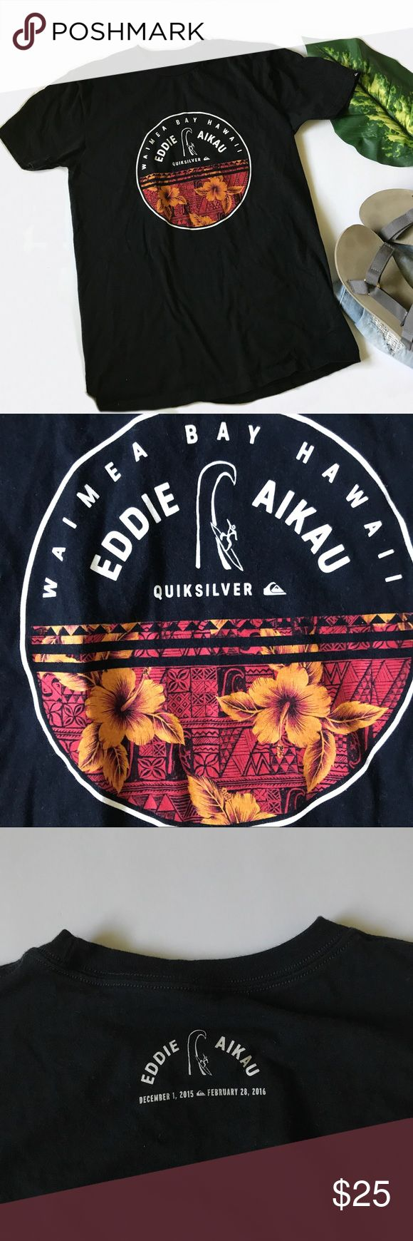 Quicksilver Tropical Black Tee •Male's quicksilver tshirt. Also fits women. Never worn and in perfect brand new condition. • Size Medium  •Waimea Bay Hawaii Surf Competition , Rare in memory of surfer Eddie Aikau.   • Will be packaged and shipped within one day from a loving home in CA • Bundle and save 10%• Offers and Questions are always welcome!•   Quiksilver Shirts Tees - Short Sleeve