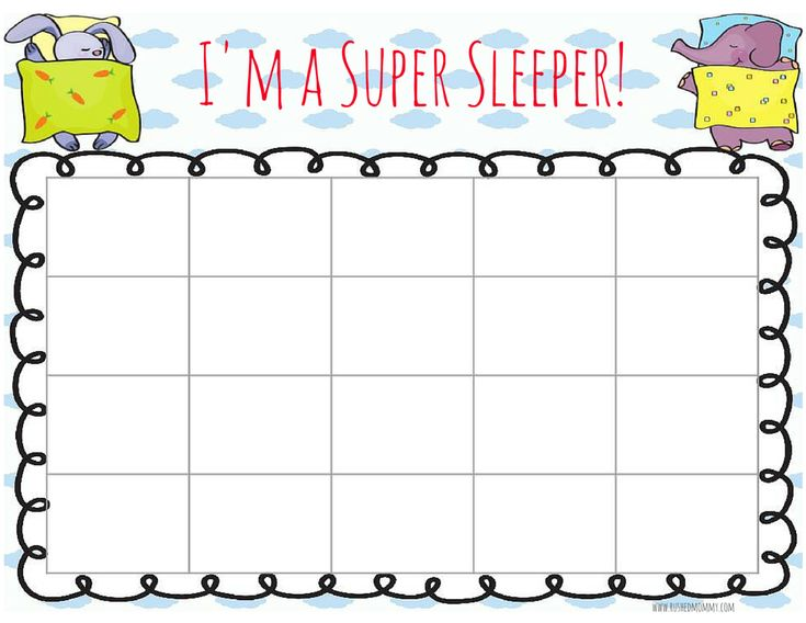 bedtime reward chart or sticker chart for when your child won't sleep in her bed