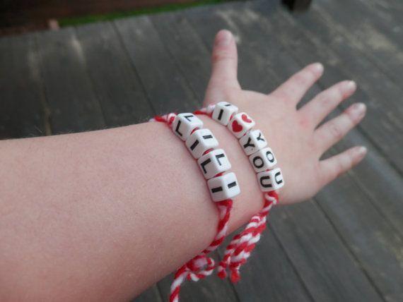 Martenitsa bracelet with personalization/ by TheGiftofLovebyLili