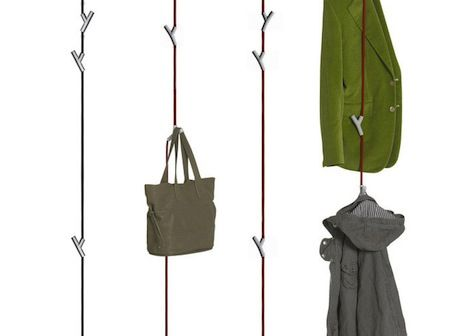 Wardrope Y Shaped Hooks Mounted On Rope Suspended From