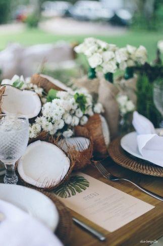 Decoração praiana para um miniwedding, by Katia Criscuolo Foto: Duo Borgatto #coconut #decor #wedding