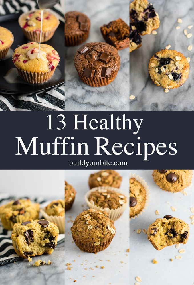 13 healthy muffin recipes made with simple, wholesome ingredients. Add these to your must bake list! #healthymuffins #healthymuffinrecipes #breakfast #breakfastmuffins