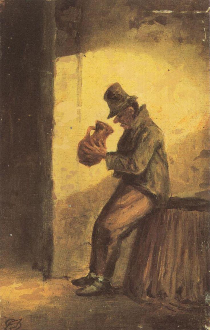 Carl Spitzweg (1808-1885) - Der Trinker - the drunkyard. Biedermeier Painting