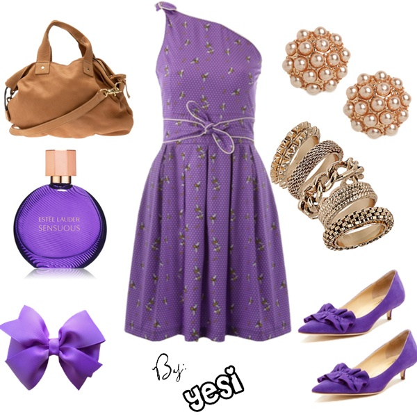 Purple outfit option 39. #purple #outfits #purpleoutfits #dresses #casual #fashion #jewelry #handbags #accessories #shoes #clothes